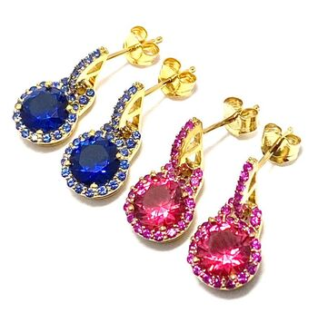 .925 Sterling Silver & Yellow Gold Overlay Ruby & Sapphire Lot of 2 Earrings