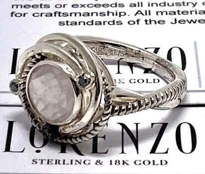 Authentic Lorenzo .925 Sterling Silver, 0.045ct Blue Diamond & 2.64ct Pink Quartz Ring Size 7
