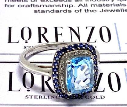 Authentic Lorenzo .925 Sterling Silver, 0.15ct Diamond & 2.5ct Blue Topaz & 0.25ct Sapphire Ring Size 6.5