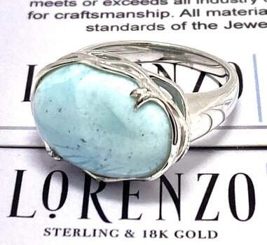 Authentic Lorenzo .925 Sterling Silver, 11.00ct Larimar Ring Size 8