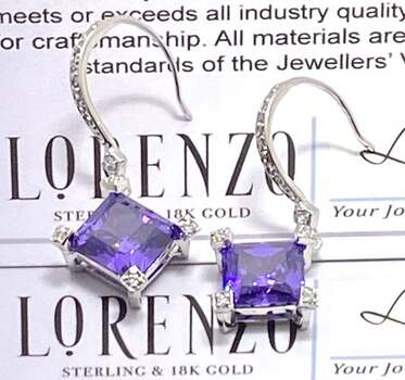 Authentic Lorenzo .925 Sterling Silver, 12.0ctw Amethyst & 0.05ctw White Topaz Earrings