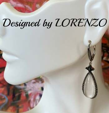 Authentic Lorenzo .925 Sterling Silver, 14.0ctw White Quartz & 0.35ctw Black Spinel Earrings