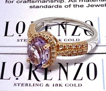Authentic Lorenzo .925 Sterling Silver, 1.69ct Rose Amethyst & 0.26ct White Sapphire Ring Size 7