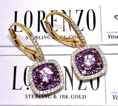 Authentic Lorenzo .925 Sterling Silver, 1.77ct Amethyst & 0.36ct White Sapphire Earrings