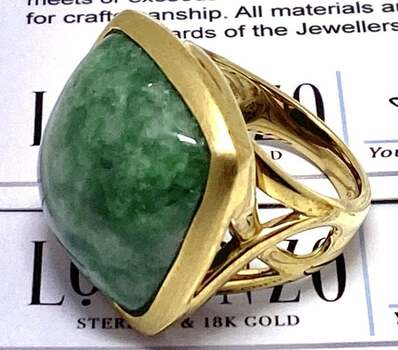 Authentic Lorenzo .925 Sterling Silver, 29.4ct Russian Jadeite Ring Size 8