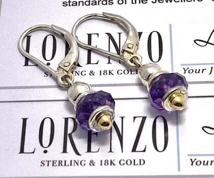 Authentic Lorenzo .925 Sterling Silver, 4.58ctw Amethyst Earrings
