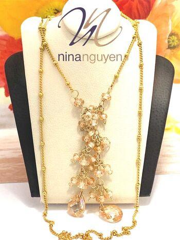 Designer Nina Nguyen Genuine Champagne Topaz 14k Gold Filled  Tie the Knot Necklace
