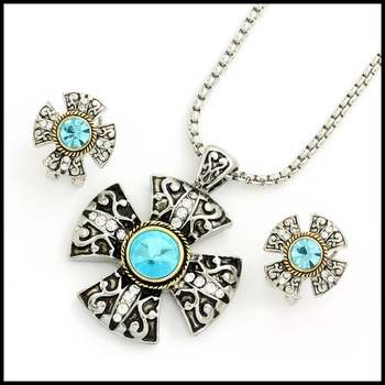Gold Overlay & Blue and White Sapphire Necklace and Clip On Earrings Set