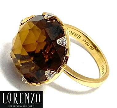 Lorenzo .925 Sterling Silver, 0.03ct Natural Diamond & 13.85ct Brown Quartz Ring Size 6.5