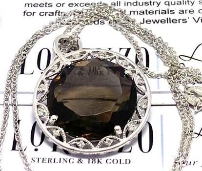 Lorenzo .925 Sterling Silver, 0.048ct Genuine Diamond & 26.00ct Smoky Quartz Necklace