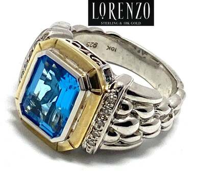 Lorenzo .925 Sterling Silver, 0.10ct Natural Diamond & 6.75ct Blue Topaz Ring Size 7