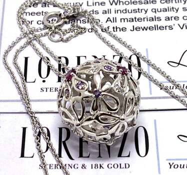 Lorenzo .925 Sterling Silver, 0.15ct Rhodolite, 0.25ct Amethyst Necklace