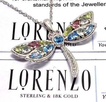 Lorenzo .925 Sterling Silver, 0.17ct Rhodolite, 0.60ct Topaz, 0.60ct Peridot Necklace