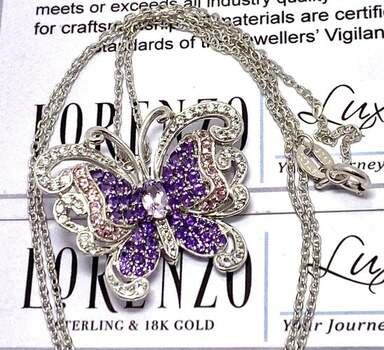 Lorenzo .925 Sterling Silver, 0.50ct Amethyst, 0.15ct Pink Topaz, 0.37ct White Topaz Necklace