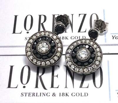 Lorenzo .925 Sterling Silver, 1.0ctw Black & White Diamonique Earrings