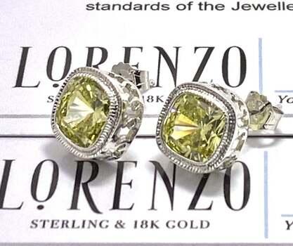 Lorenzo .925 Sterling Silver, 11.0ctw Peridot Stud Earrings