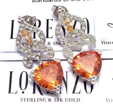 Lorenzo .925 Sterling Silver, 14.75ct Golden Topaz & 0.50ct Yellow&White Topaz Earrings