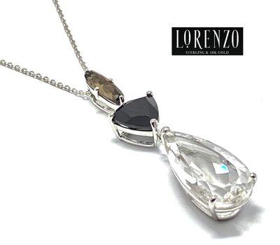 Lorenzo .925 Sterling Silver 18.05ct Natural White Quartz, Black Spinel, Smokey Quartz Necklace