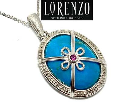 Lorenzo .925 Sterling Silver, 19.3ct Chinese Turquoise & 0.09ct Brazilian Garnet Necklace