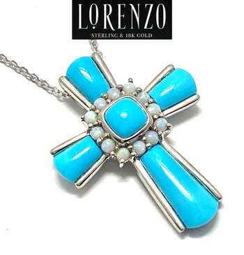 Lorenzo .925 Sterling Silver, 2.1ct Turquoise & 3.78ct Opal Necklace