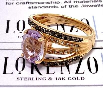 Lorenzo .925 Sterling Silver, 2.4ct Rose De France Amethyst & 0.36ct White&Brown Diamonique Ring Size 7