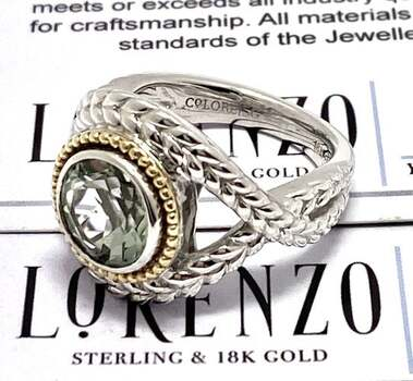 Lorenzo .925 Sterling Silver, 2.55ct Green Amethyst Ring Size 7