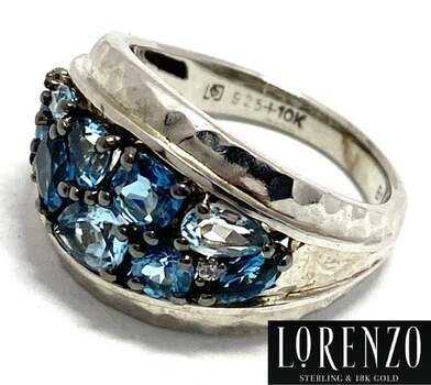 Lorenzo .925 Sterling Silver, 2.61ct London Blue Topaz Hammered Design Ring Size 6.5