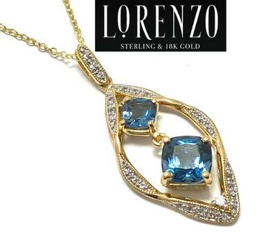 Lorenzo .925 Sterling Silver, 2.64ct London Blue Topaz & 0.17ct White Sapphire Necklace