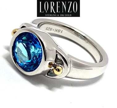 Lorenzo .925 Sterling Silver, 3.3ct London Blue Topaz Ring Size 7
