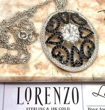 Lorenzo .925 Sterling Silver, 4.00ct Black & White Diamonique Antique Design Necklace