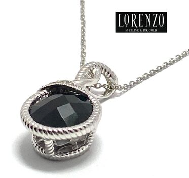 Lorenzo .925 Sterling Silver 5.41ct  Natural Onyx, 0.048ct Natural Diamond Necklace