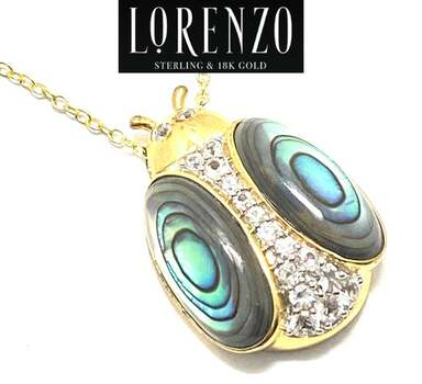 Lorenzo .925 Sterling Silver, 5.96ct Abalone & 0.45ct White Sapphire Necklace