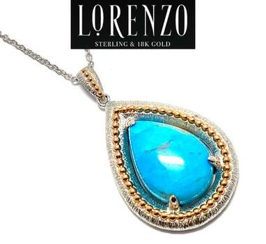 Lorenzo .925 Sterling Silver, 7.15ct Turquoise Necklace