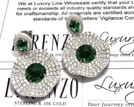 Lorenzo .925 Sterling Silver, 8.0ctw Emerald & 4.50ctw White Diamonique Earrings