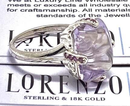 Lorenzo .925 Sterling Silver, 8.52ct Rose Amethyst & 0.32ct Brazilian Garnet Ring Size 7