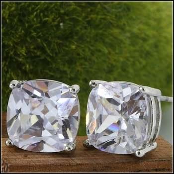 White Gold Overlay 10mm X 10mm AAA Grade Australian Cz's Earrings