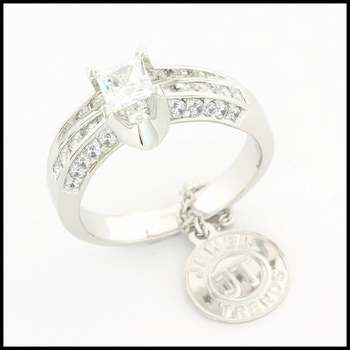 White Gold Overlay, 1.25ctw (AAA Grade) CZ's Bridal Engagement Ring Size 6