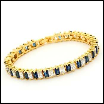Yellow Gold Overlay Blue & White Sapphire Tennis Bracelet
