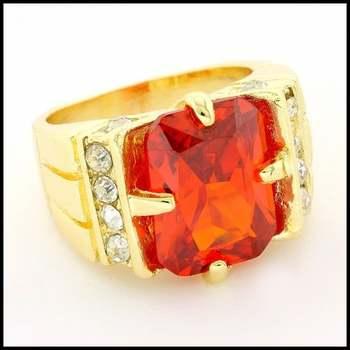Yellow Gold Overlay, Citrine & White Sapphire Ring Size 7