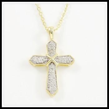 0.02ctw Genuine Diamond Accent Fine Jewelry Brass with 3x Gold Overlay Necklace