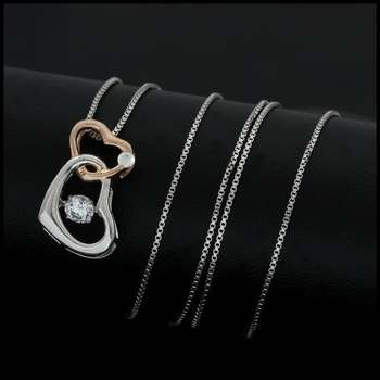 """0.13ctw White Diamonique, 925 Sterling Silver White&Rose Gold Plated  """"Dancing Diamond"""" Necklace"""