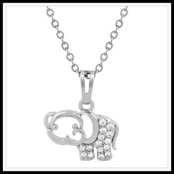 0.30ctw White Topaz Elephant Necklace