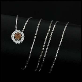 0.32ctw White&Yellow Diamonique, 925 Sterling Silver Necklace