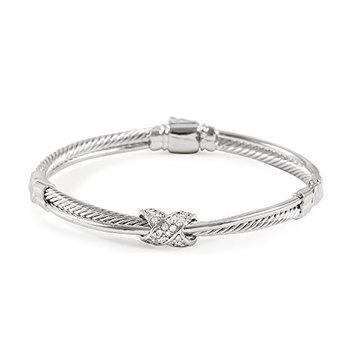 0.34ctw White Cubic Zirconia CZ Women's Classic Cable Bangle Bracelet