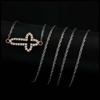 0.34ctw White Diamonique, 925 Sterling Silver Cross Necklace