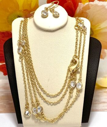 """0.35ctw Cubic Zirconia Set of Earrings & """"Diamond By The Yard"""" Necklace"""
