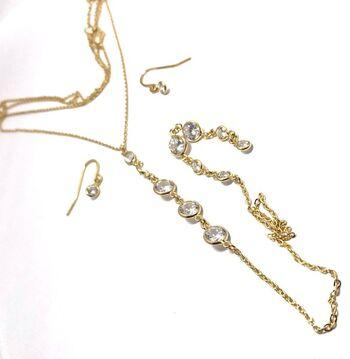 0.35ctw Cubic Zirconia Set of Earrings & Necklace