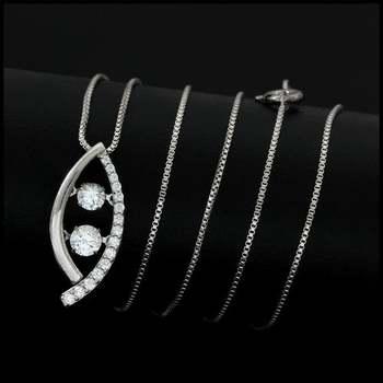 "0.38ctw White Diamonique, 925 Sterling Silver ""Dancing Diamond"" Necklace"