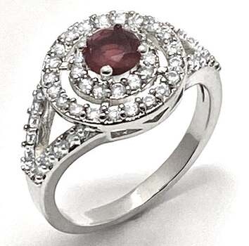 0.40ctw Ruby & 0.50ctw White Diamonique Ring Size 7