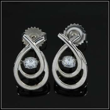"0.40ctw White Diamonique, 925 Sterling Silver ""Dancing Diamond"" Earrings"